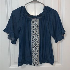 blue jean shirt with lace accent